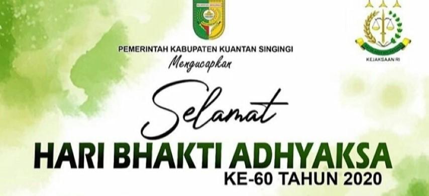 Bupati Kuantan Singingi Drs Mursini Ucapkan Selamat Hari Bhakti Adhyaksa Ke 60