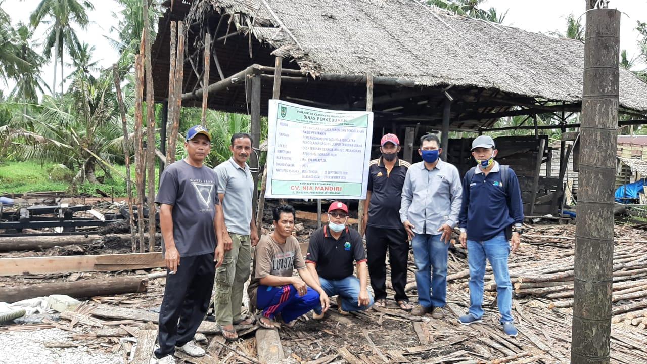 Disbun Inhil tinjau Pembangunan UPH sagu di Desa Terusan Beringin Jaya Kecamatan Pelangiran