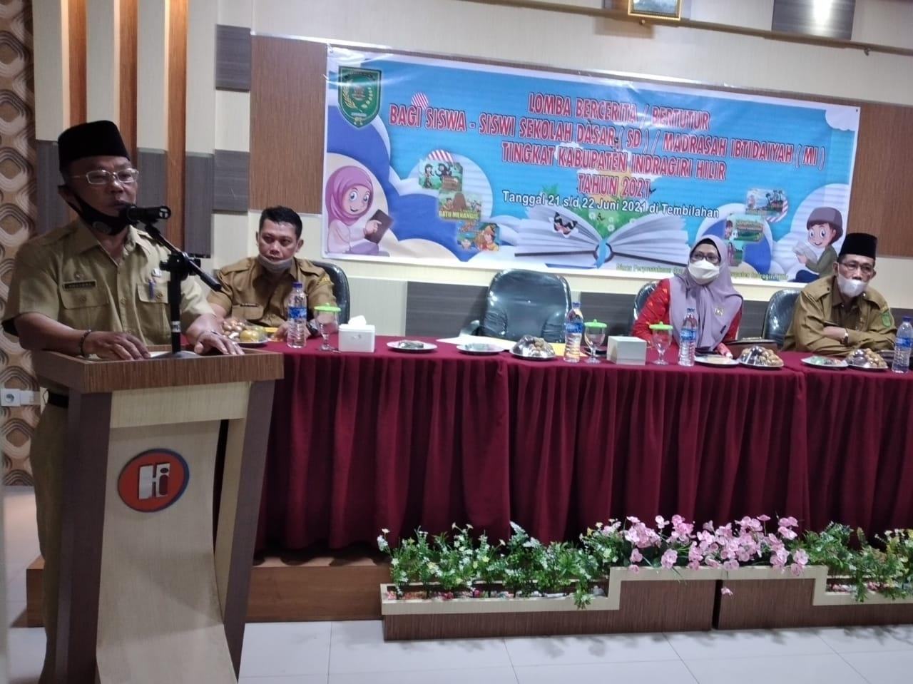 Kepala DPAD Yulizal Buka Lomba Bercerita/Bertutur Tingkat SD dan MI di Inhil
